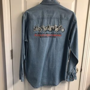 Women's Harley Davidson denim shirt embroidered